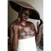 供应仿铜铸铜敲铜玻璃钢少女人物雕塑