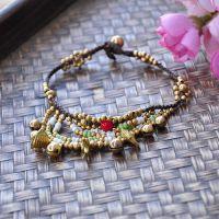 新款民族风饰品 手工编织 泰国蜡绳绿松石手链批发-1434-28305