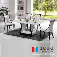 【厂家直销】欧式餐桌椅组合 大理石餐桌椅 实木6人餐桌椅组合