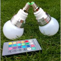 LED RGB球泡灯e14E27螺口3W七彩遥控灯泡LED调光变色彩灯 RGB变色彩灯