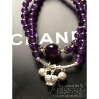 正品乌拉圭紫水晶手链 纯天然时尚手串 925银小皇冠 招代理