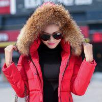 2014冬新款韩版羽绒服女中长款修身大毛领加厚特大码连帽女装外套