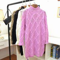 2015秋冬新款韩版女装毛衣女钻手工镶高领打底衫女式针织衫中长款