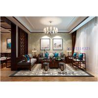 即墨别墅装修,三盛国际海岸144平叠拼新中式|青岛实创装饰