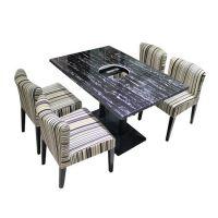 简约现代贴纸大理石桌子,火锅家具订做,众美德专业生产