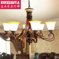 波西米亚灯具红古铜色八头吊灯 田园乡村简约欧式客厅餐厅灯2950