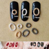 日系美甲饰品金属合金椭圆形配件 日本流行指甲贴圈圈装饰品厂家