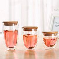 批发 星巴克 波顿 竹木硅胶盖创意情侣马克杯子咖啡杯 双层玻璃杯