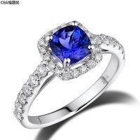 定制珠宝1.08克拉无瑕坦桑石戒指18k白金69分钻石钻戒天然宝石