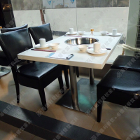 专业设计 餐厅休闲火锅桌椅 斑马纹布艺软包火锅餐桌椅 四人位火锅桌椅组合