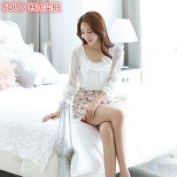 韩国实拍 2014秋装新款女装 雪纺钉珠花朵打底衫