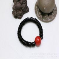 【菩缘阁】印尼精工黑色泥鳅背椰壳配天然朱砂18mm 菩提子diy配件
