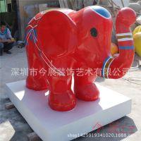 房地产活动雕塑厂家|大量订单定做|玻璃钢红色大象雕塑动物造型