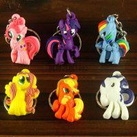 my little pony小马宝莉Q版公仔卡通双面硅胶钥匙扣挂件 六款混发