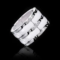 李敏镐同款表带链式宽版双排镶钻黑白陶瓷情侣钛钢食指环戒指批发