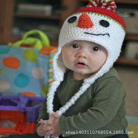 【厂家批发】嘻哈儿童帽子 手工编织卡通婴儿帽 柔软舒适毛线帽