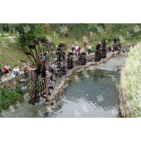 订制防腐木水车 景观水车 园林装饰水车