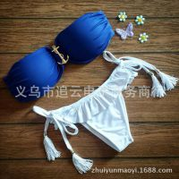外贸爆款蓝白船锚欧美比基尼分体式泳衣厂家直销B32