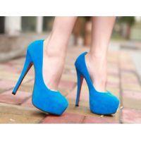 2015春欧美外贸出口绒面细超高跟14cm 防水台夜店高跟鞋女单鞋子