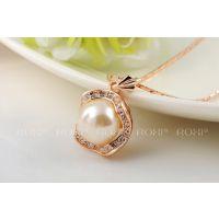 roxi速卖通外贸热卖奢华奥地利水晶玫瑰金单珍珠项链