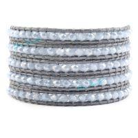 批发混批路塔斯曼淡蓝紫色水晶与银灰色皮绳编织5圈皮绳手链