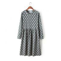 AI.K--TT 2015春季新款时尚韩版波点长款修身连衣裙 长袖打底裙