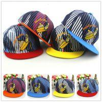 韩版新款儿童帽子时尚条纹平沿嘻哈帽棒球帽帽子批发一件代发