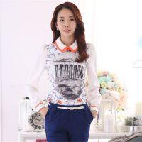 2015春装新款大码女韩版修身雪纺长袖娃娃领打底衫厂家直销