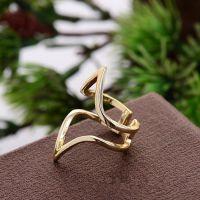 新款韩版戒指 时尚戒环双尖头心形开口小光面戒指地摊货源批发