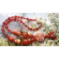 糖果色天然红玛瑙树叶时装项链潮女天然宝石水晶项链辟邪转运