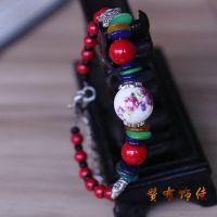 时尚复古饰品批发手工串珠民族异域风情藏银陶瓷珠贝壳手链