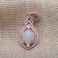福华珠宝S925银镀玫瑰金镶玉天然白玉吊坠挂件 正品玉器女款项坠