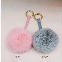 韩国女式纯狐狸毛兔毛毛球皮绳包包挂件/可爱9cm兔毛球
