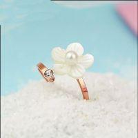 韩版气质贝壳茶花单钻戒指女镀18K玫瑰金开口彩金尾戒指环饰品批