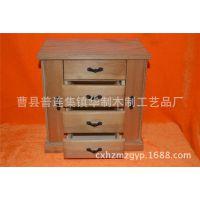 韩国创意家居日用木质护肤品收纳盒咖啡色抽屉式带镜子复古收纳盒