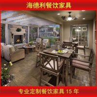 现代乡村 实木餐桌椅 复古餐桌 松木饭桌组合 铁艺餐桌椅组合