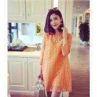 小银子2015春装新品时尚气质花朵镂空七分袖连衣裙女Q3286