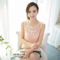 2015春夏韩版新款蕾丝吊带背心大码显瘦无袖网纱打底衫女一件代发