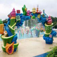 户外大型游乐园门头装饰雕塑 游乐场森林主题果蔬组合造型拱门雕塑 玻璃钢水上乐园拱门