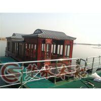 贵州厂家直销12米新款封闭式服务类船画舫船 景区餐饮电动观光木船