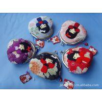厂家直销 日本正版招喜屋和风女孩真丝零钱包 婚庆婚礼红包礼品