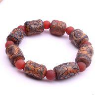 西藏天然风化纹原矿玛瑙三眼天珠桶珠佛珠手串手链厂家直销