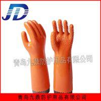 厂家直销pvc浸胶颗粒止滑防化手套耐油耐酸碱可定做加长加厚工业作业手套