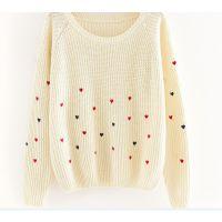 2014秋冬装新款爱心圆领针织衫套头短款毛衣打底衫韩版女式针织衫
