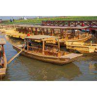 农用小木船 5米双桨手划单蓬船 户外木质单蓬船 水乡景区观光木船