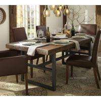 美式乡村复古做旧实木铁艺餐桌饭桌酒吧桌办公桌酒店桌长方桌特价
