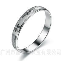 韩版创意男女毕业戒指925纯银车花戒指批发纯银首饰