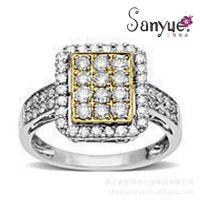方形复古满钻戒指 镀双色金戒指 英国王子佩戴戒指首饰
