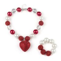 红色点钻爱心吊坠项链手链 速卖通饰品货源 bubblegum necklace