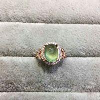 天然葡萄石925银镀玫瑰金戒指  珠宝首饰  彩色宝石